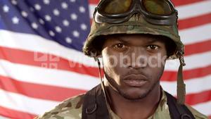 Portrait of military soldier standing