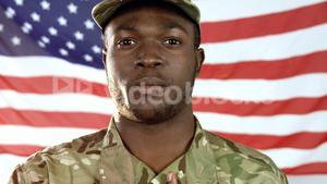 Portrait of military soldier singing a national anthem