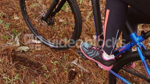 Close-up of mountain biker riding in the forest