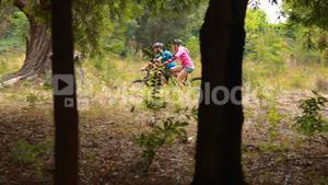 Couple cycling bicycle