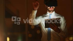 Business executive using virtual glasses with digital tablet