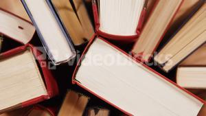 Close-up of books arranged