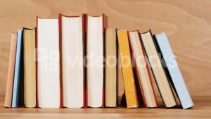 Various books arranged in a row