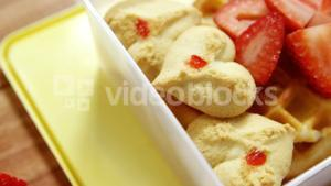 Close-up of slice strawberry with sweet food