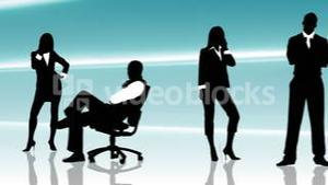 Animation of business people silhouettes on phone