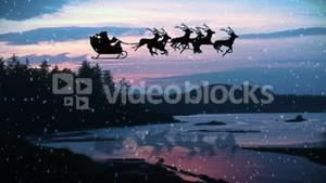 Animation of Santa Claus and reindeer flying over landscape