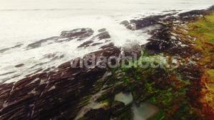 Aerial of beautiful ocean and coastline