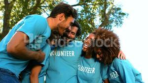 Group of volunteer having fun