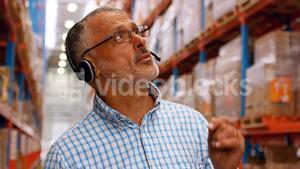 Manager using headset