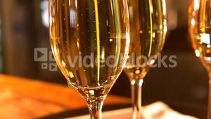 Close-up of champagne glasses