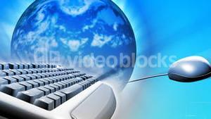 Keyboard and a mouse with the Earth. Concept of global network