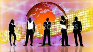 Stock market background with people silhouettes