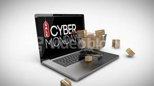 Cyber Monday logo on laptop with shopping trolley