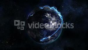 Shaded and lighted Earth with blue connections in movement with moving clouds with Earth image court