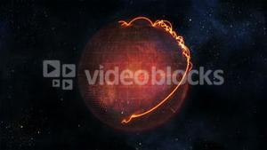 Animated globe in movement with orange connections with source image courtesy of Nasa.org