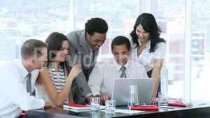 Business team having fun working together in office