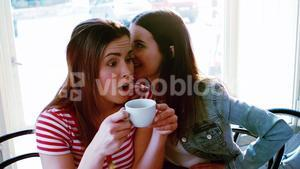 Woman whispering a secret into her friends ear