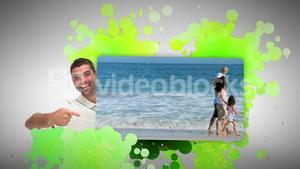 Man showing his family on holidays