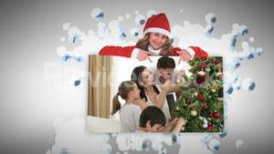 Christmas animations about families decorating a tree
