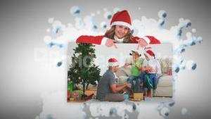 Merry Christmas animation about a families opening presents