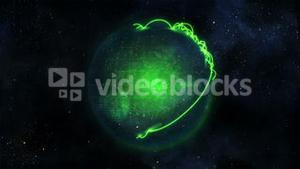 Animated green planet globe with connections