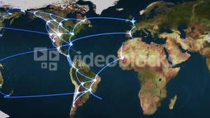 Flying over the Earth with blue connections