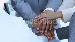 Close up of international people with hands together