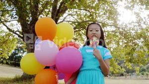 Portrait of smiling girl holding balloons and lollypop in the park