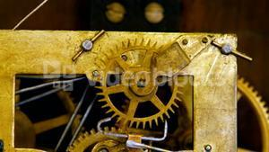Close-up of watch mechanism with gears