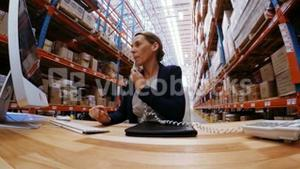 Female manager talking on telephone while working on computer