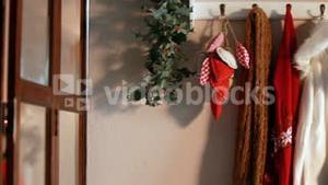 Christmas decoration with clothes hanging on hanger