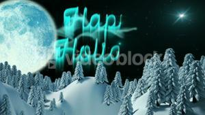 Happy holiday message with moon