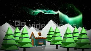 Illustration of a house with snowfall