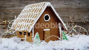 Gingerbread house with rice light