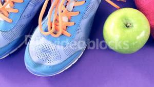 Shoes, fruits, napkin and measuring tape