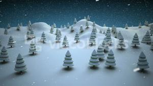 Snow covered Christmas trees on a snowy landscape
