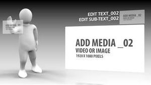 3d man scrolling images through the screen AE Version 5