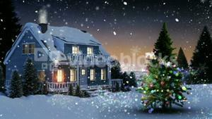 Illustration of house and snow covered trees on a snowy landscape