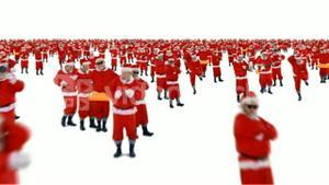 Group of santa claus dancing and performing various activity