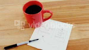 Close-up of coffee mug and business strategy plan