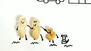 Family of peanut figurine holding hands