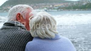 Happy senior couple pointing at view