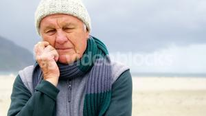 Senior man on beach