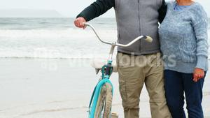 Happy senior couple standing with their bicycle