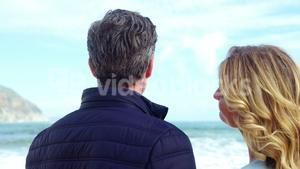 Happy mature couple looking at view