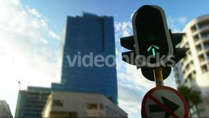 Traffic signal in city
