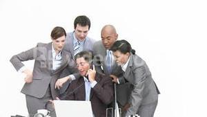 Business people studying a new business plan