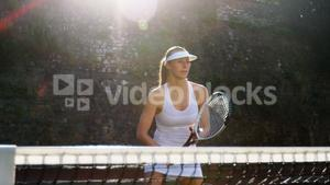 Active sportswoman playing tennis