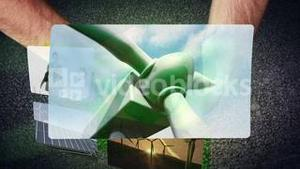 Hands holding a recycling symbol animating videos