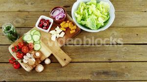 Chopped vegetables on wooden table
